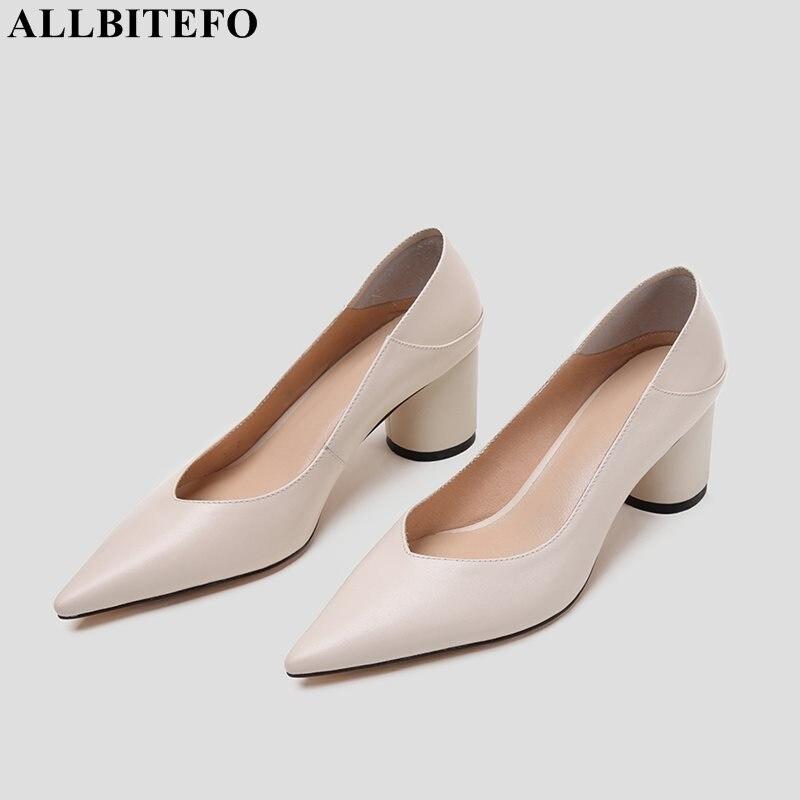 Allbitefo 정품 가죽 여성 하이힐 신발 패션 봄 가을 신발 사무실 경력 편안한 결혼식 신발-에서여성용 펌프부터 신발 의  그룹 1
