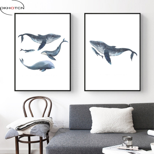 OKHOTCN Watercolor Whales Family Love Unframed Canvas Art Print Painting Poster Wall Pictures For Home Decoration Wall Decor
