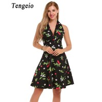 Tengeio Womens Dresses New Arrival 2017 Pin Up Vintage Sexy Sleeveless Floral Print Halter Backless Rockabilly