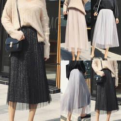 Новые модные летние женские Платья повседневные Ретро пайетки плиссированные Бохо качели длинные юбки длинная с резинкой в талии A-Line