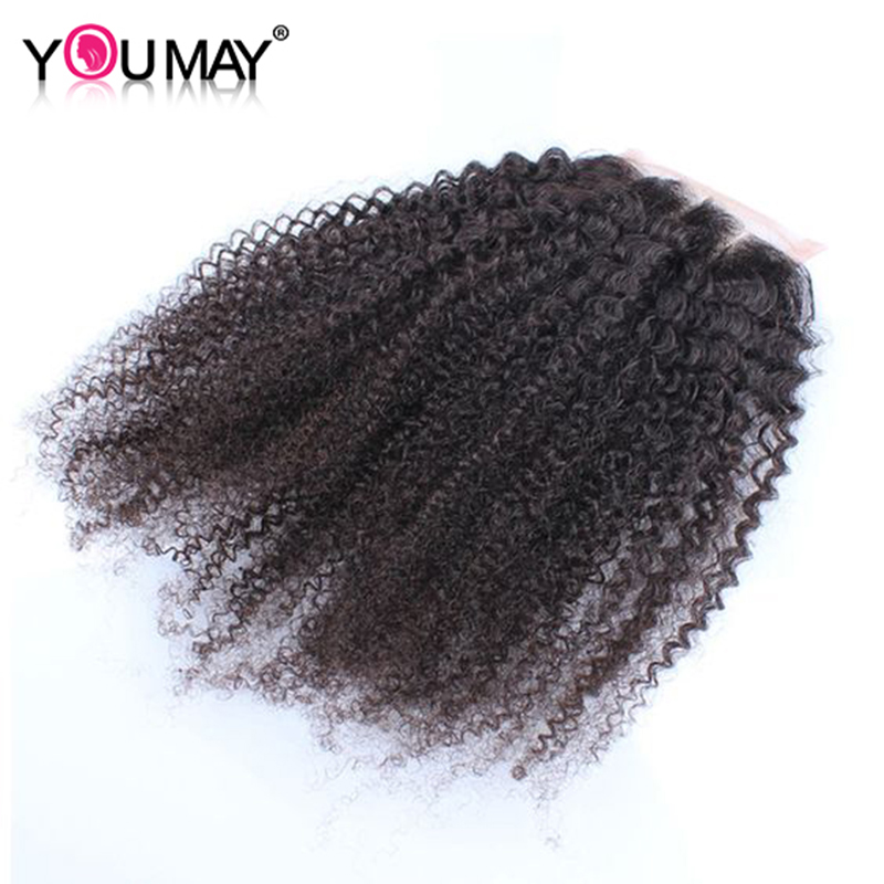 4 * 4 Lace Closure Mongolian Afro Pinky Curly Părul uman cu par de - Păr uman (pentru negru)