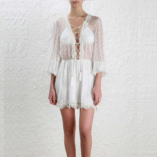 a2817efc4d Women White Sexy Lace Silk Front Drawstring Wave Dot Embroidery Lantern  Long Sleeve Short Jumpsuit Playsuit