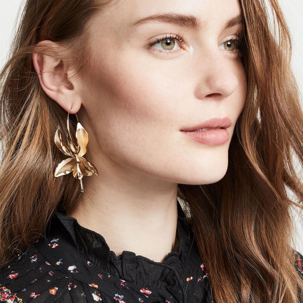 Dvacaman <font><b>2019</b></font> New Fashion Designs <font><b>Flower</b></font> Metal Drop <font><b>Earrings</b></font> <font><b>for</b></font> <font><b>Women</b></font> Girl Maxi <font><b>Statement</b></font> <font><b>Earrings</b></font> Dangle Wedding Party Jewelry image