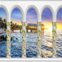 цена на wall paper 3d mural decor photo backdrop photography 3D stereo Sea arches Chalet Art Modern room hotel wall painting murals