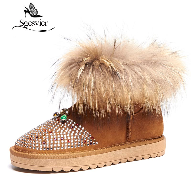 SGESVIER Winter Snow Boots For Fur Womens Flats Thick Bottom Genuine Leather Cow Suede Shoes Woman Botas Warm Plush Boots OX149 classicone woman shoes winter boots genuine leather suede knee high boots flats fur snow boots shoes women s brand fashion style