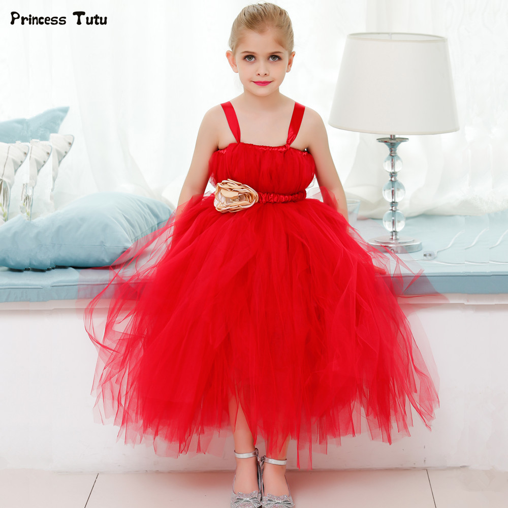 Red Flower Girl Wedding Dress Tulle Kids Girl Party Ball Gown Dress Princess Tutu Dress For Children Birthday Christmas Costumes children girls christmas dress kids tulle new year clothes fancy princess ball gown baby girl xmas party tutu dress costumes
