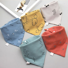 Baby Bibs Triangle Double Cotton Bibs 5 pieces/lot Cartoon Print Saliva Towel Baby Boys Girls Feeding Apron Cotton Bandana Bibs(China)