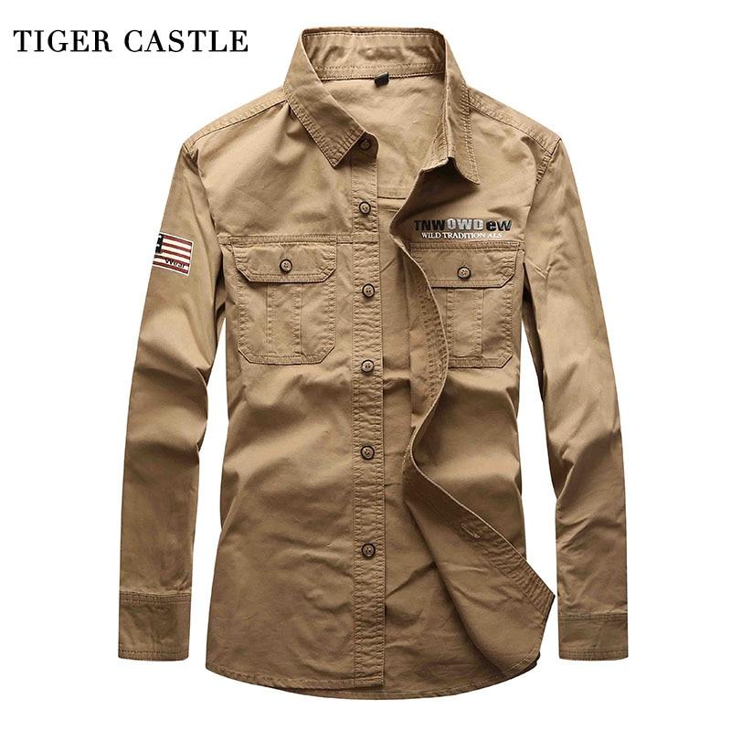 TIGER CASTLE Männer Langarm Jeans Hemd Baggy Cotton Military Armee - Herrenbekleidung