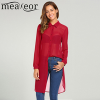 Meaneor Women Chiffon Long Blouse Shirt Turn Down Collar Long Sleeve Button Solid Casual Autumn Side