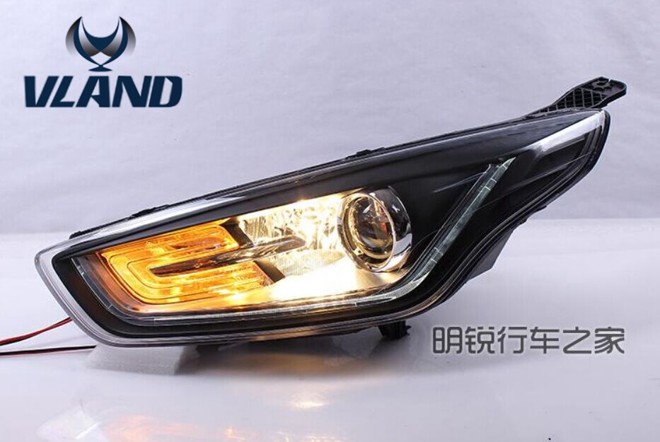 Auto Car Styling For 2015 2016 Fords Escorts Fries Headlight LED Headlamp With HID Xenon