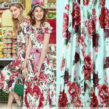 145cm rose print fabric drape fashion dress scarf polyester material diyparent-child wholesale cloth