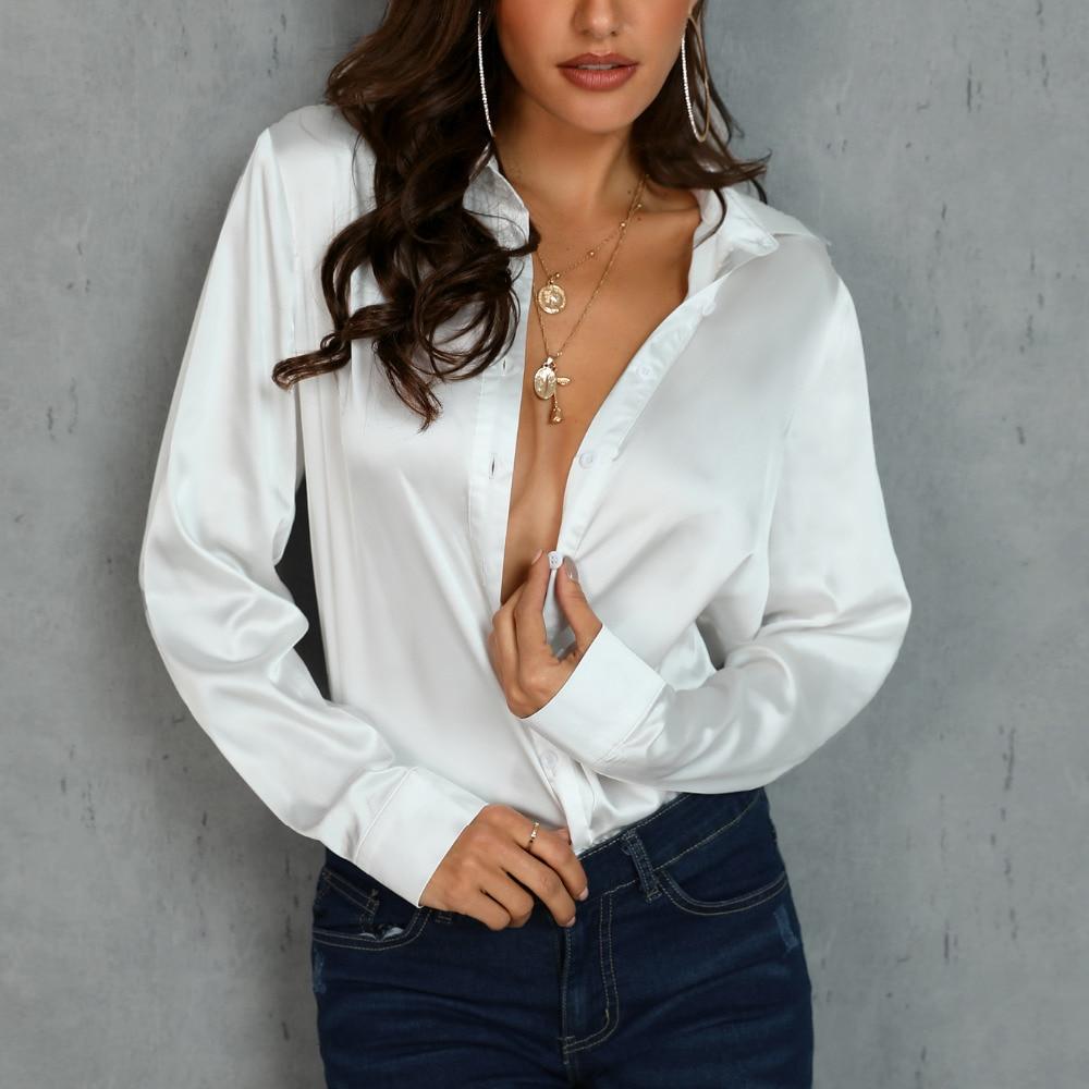Модная белая шелковая атласная блузка, Женская Повседневная рубашка с длинным рукавом и отложным воротником, шелковая сатиновая блузка, ру...