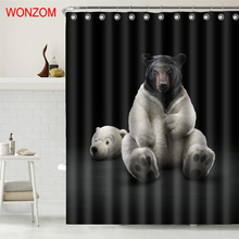 WONZOM New Animal 3D Polyester Shower Curtains with 12 Hooks Modern Bear Waterproof Curtain For Mildewproof Bathroom Decor 2018