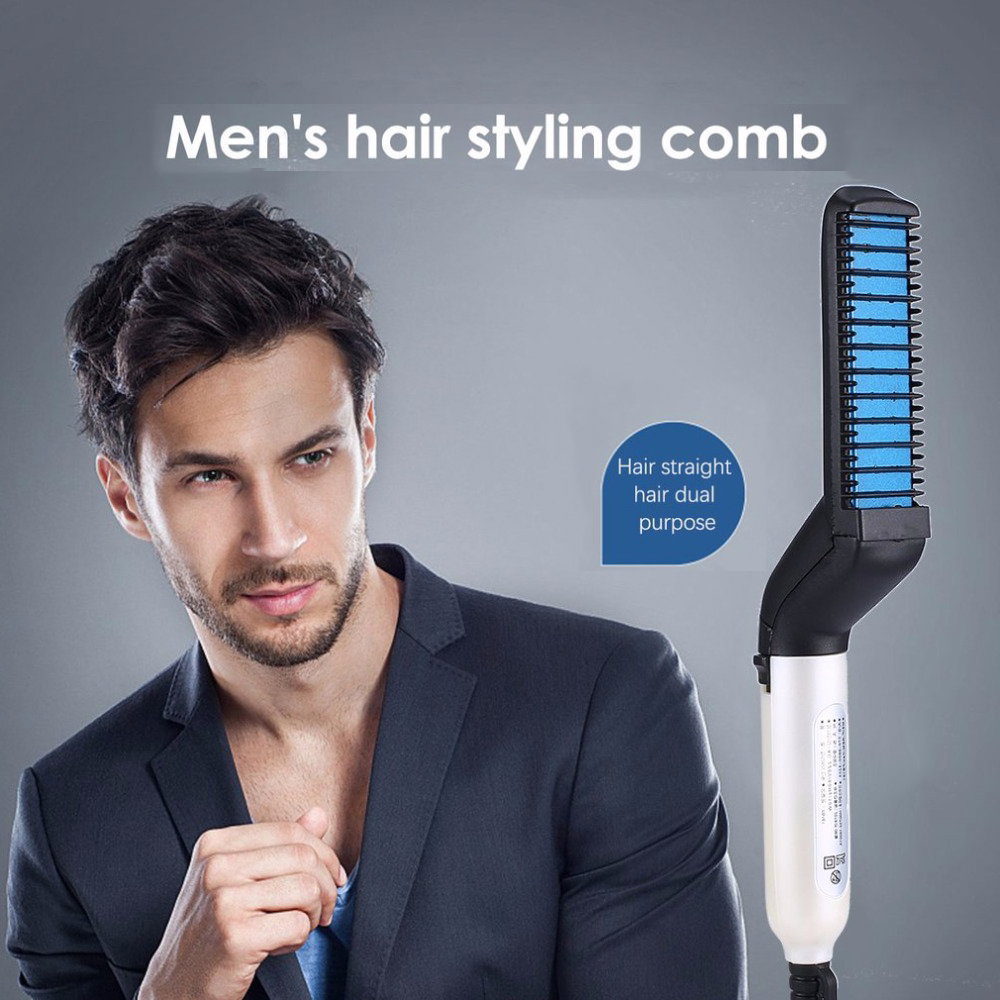 Men Quick Beard Straightener Styler Comb Beard Straightener Multifunctional Hair Curling Curler Show Cap Tool Beard Straightener