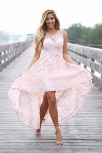 Винтажное кружевное розовое платье подружки невесты с высоким низким вырезом без рукавов, украшенное жемчугом, короткое спереди, длинное сзади, деревенские свадебные вечерние платья