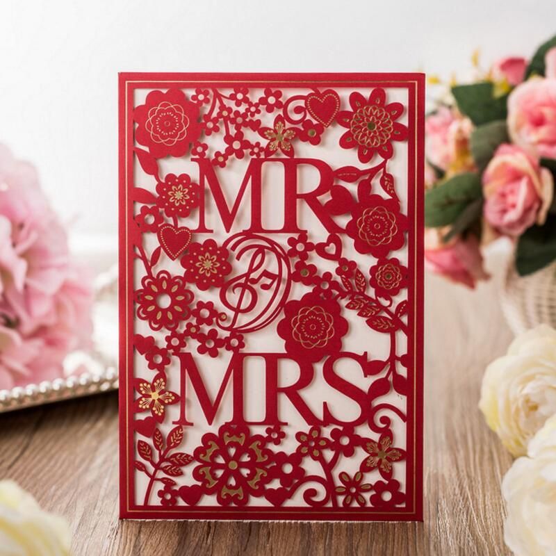 MR & MRS Inviting Card 50pcs/pack Elegant Laser Cut Paper Event Party Supplies Decoration Lover Romantic Wedding Invitation 50pcs pack laser cut wedding invitations cards elegant flowers free printing birthday party invitation card casamento