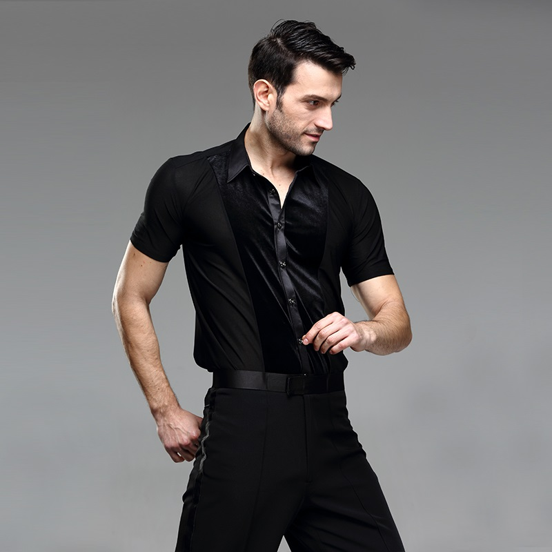 Picture of Black Ballroom Latin Shirt Latin Dance Shirts Men Dance Top Mens Ballroom Dancewear Men Ballroom Clothes Ballroom Shirt