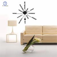 Wall Clock Modern Design Home Decoration Accessories Modern 3d Diy Wall Clocks Stickers Decal Black Durable Watch