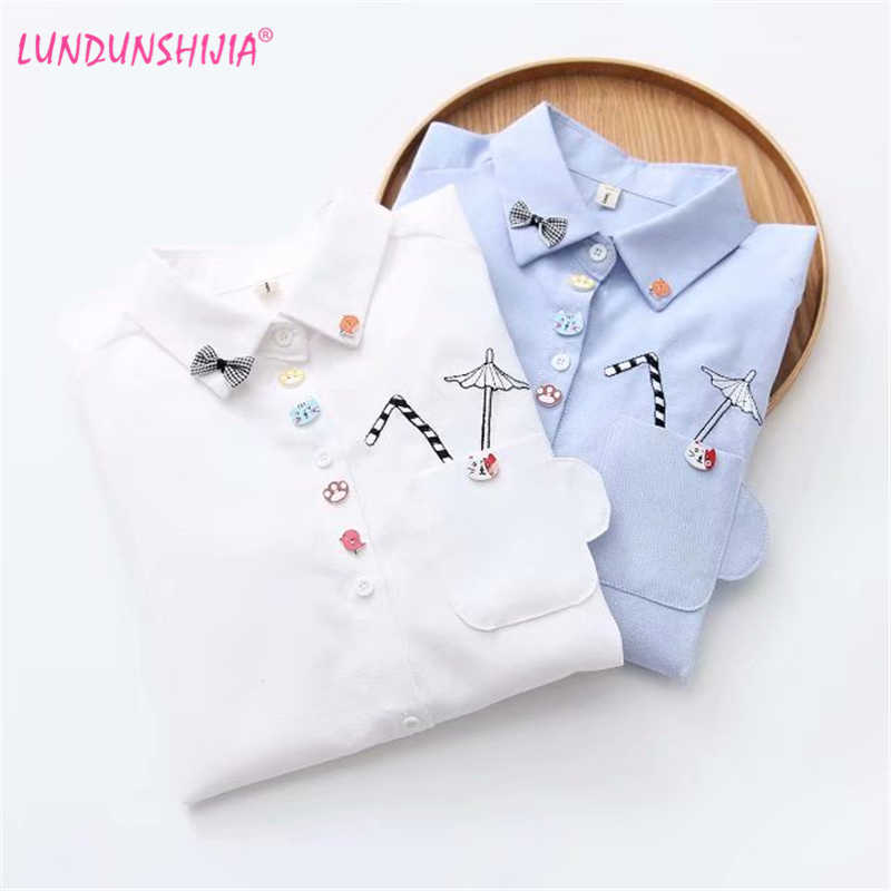 LUNDUNSHIJIA Girl School Long Sleeve Shirt White Blue Tops Ladies Blouses Female  Shirt Pocket With Cartoon de03b92794ee