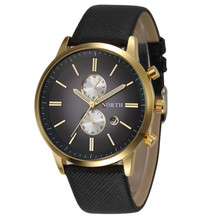 Mens Watches Top Brand Luxury NORTH Men's Slim Leather Band Calendar Quartz Watch Sports Clock Waterproof Male Hour Reloj Hombre