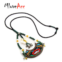 MloveAcc Ethnic Handmade Chinese Traditional Embroidery Wood Pendant Necklace Women Exquisite Shell Flower Stone Beads Jewelry