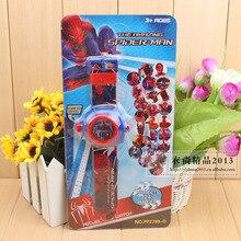 Модная детская одежда 24 проецирования паук мультфильм смотреть детские наручные часы для мальчиков и девочек подарок Y17896
