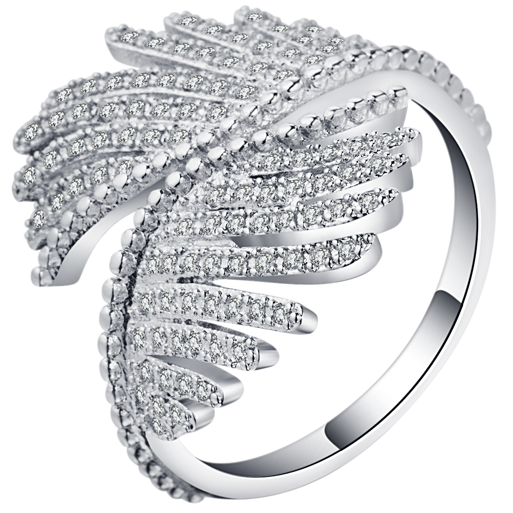 Unique Angel wing bling jewelry antique zircon crystal wholesale drop shipping Wedding Rings For Women