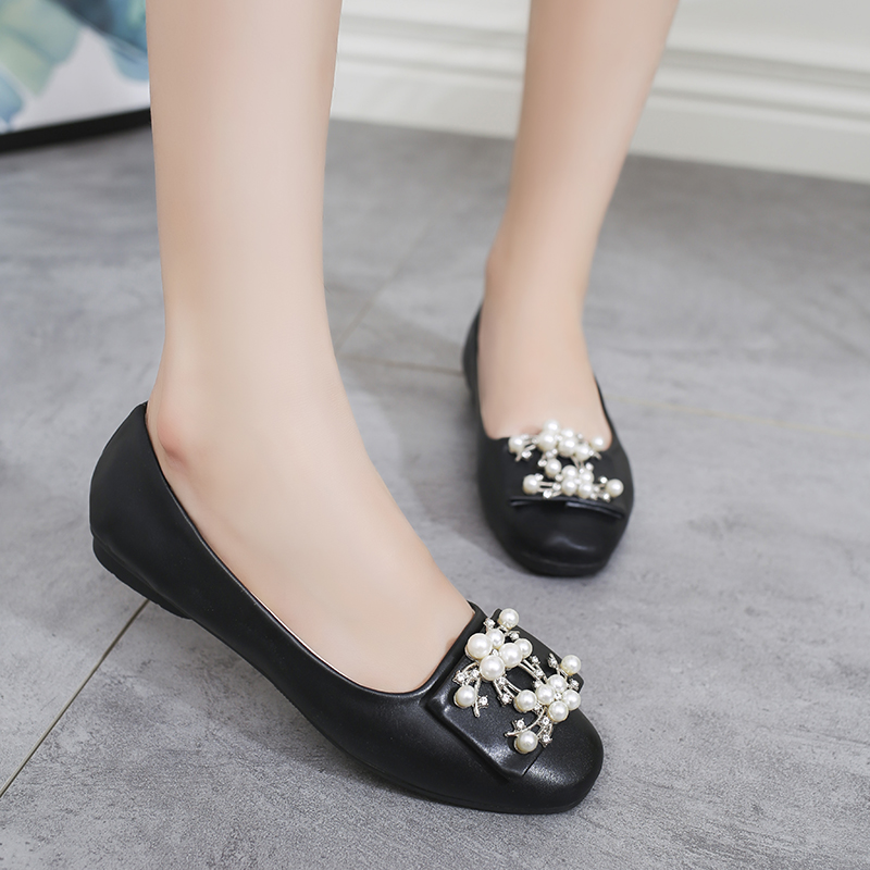 2018 New Ladies Flat Shoes Pearl Beads Casual Women Shoes Spring autumn shoes Comfortable Round Toe Flats Size 35-40 asumer white spring autumn women shoes round toe ladies genuine leather flats shoes casual sneakers single shoes