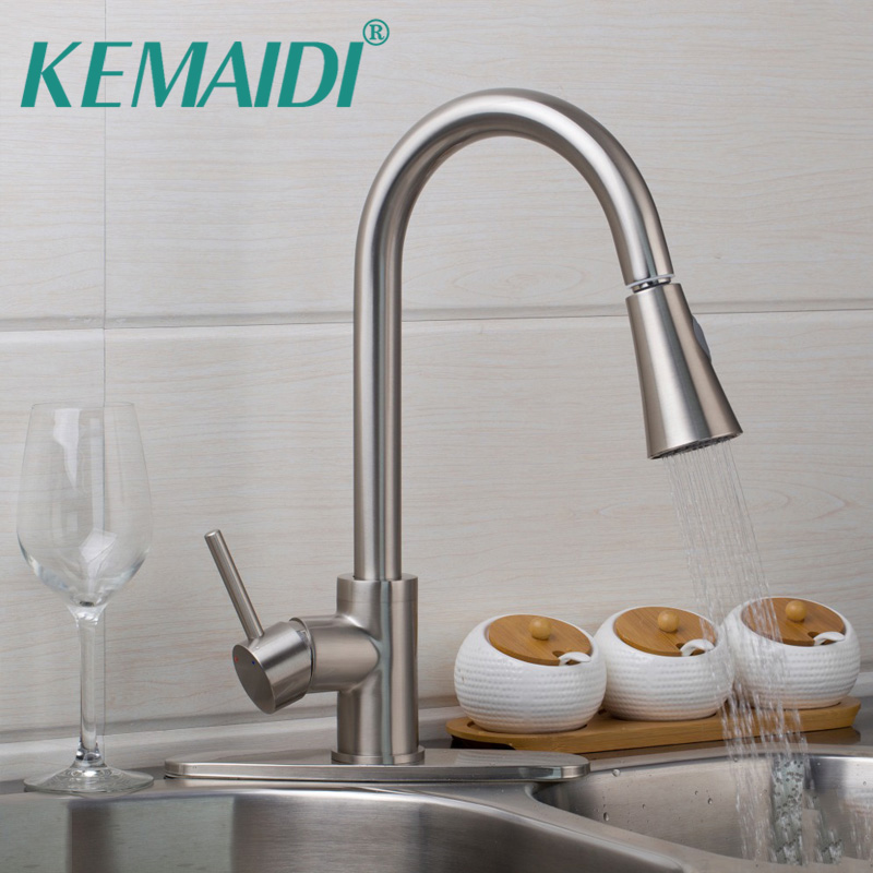 KEMAIDI US Pull Out Sprayer Kitchen Faucet Tap Brushed Nickel Mixer Single Handle Kitchen Taps Mixer Brass With Cover Plate kemaidi fashion deluxe kitchen faucet mixer tap deck mounted kitchen faucet nickel brushed brass material kitchen taps