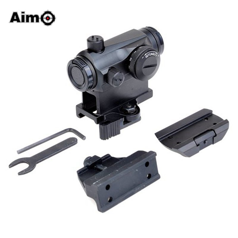 Aim-O Hunting Red Dot Air Gun Scope Sight with QD Mount / Low Mount / Vertical Offset Mount Fit for 20mm Rails T-1 AO5031 jj airsoft t1 t 1 red dot 45 degree offset mount qd mount and low mount tan