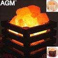 Природные Гималайской Соли Лампы Кристалл Свет Стол Очиститель Воздуха Рок Гималайских Стол Night Light Лампе Деревянная Рамка Для Спальни Подарки
