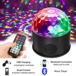 9W RGB LED Disco Ball Light Bluetooth Music Speaker Player DMX USB Christmas Laser Projector Stage Par Light with Remote Control