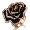 Rosa selvagem moda subiu presente de ouro brilhando pedra anel de flor fêmea ka285 para special day