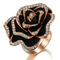 Rose fashion wild rose gold shining stone ring flower female ka285 gift for special day