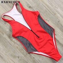RXRXCOCO 2019 Sexy One Piece Swimsuit Women Swimwear Female Deep V Bathing Suit Push Up Swimming Bodysuits Beachwear Monokinis