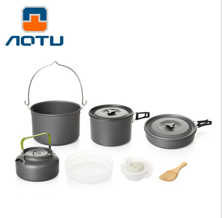 5-6 Person Portable Outdoor Camping Cookware Set Hiking Tableware Backpacking Picnic Pan Pot Teapot set Foldable Handle many people set the pot aluminum pot pot with a portable outdoor bowl spoon 4 5 ds500