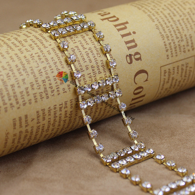 1yards 2cm Shiny Clear Czech Crystal Rhinestone Cup Chain Pattern Gold Set  For DIY Browband Garment 2f2d5ba244d0