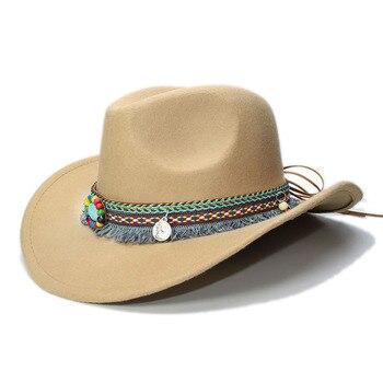 LUCKYLIANJI mujeres hombres Unisex lana vendimia de fieltro vaquero ala  ancha Bowler sombrero borla turquesa banda trenza (57 cm) 773dbce7d4f