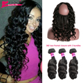 360 Lace Frontal With Bundles Brazilian Virgin Hair With Closure Loose Wave Pre Plucked 360 Lace Frontal Closure With Bundles