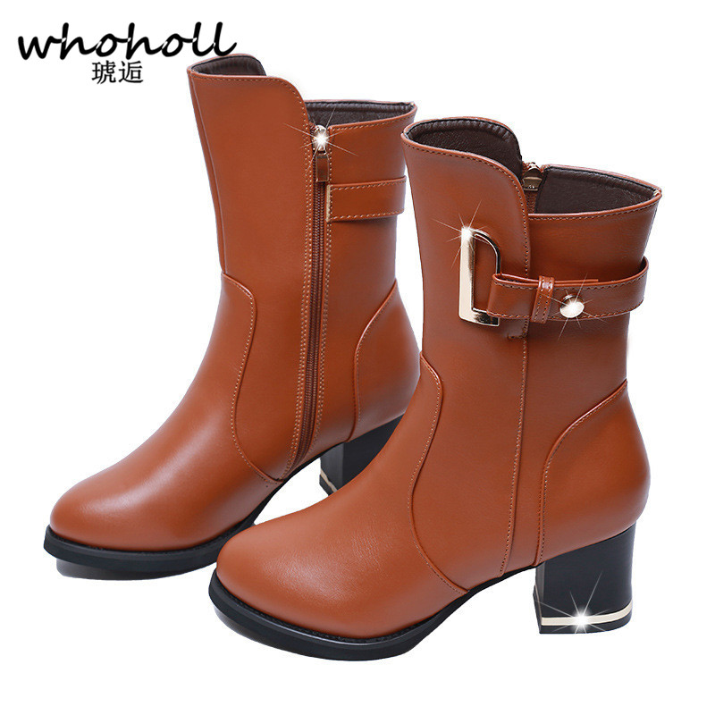 Whoholl Autumn Winter Women Boots PU Leather Ladies Shoes Martin Boots Suede Leather Midhalf Boots High Heeled Zipper Snow Boots