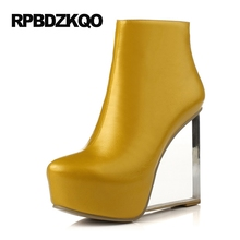 клинья обувь сексуальный женщины прозрачный осень Белые сапоги на платформе экстремальный батильоны фетиш желтый Большой бренд каблуке ботильоны странный Чисто женский женская новый китайский 2017 мода короткая