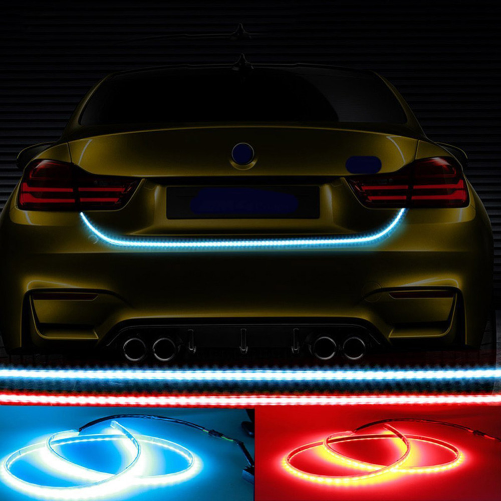 Car LED Trunk Strip Light With Side Turn Signals Rear Lights Car Braking light  DRL Daytime Running Light Blinkers car-styling 1 pair car led lights 12 24v drl head lights 8w turn light strip