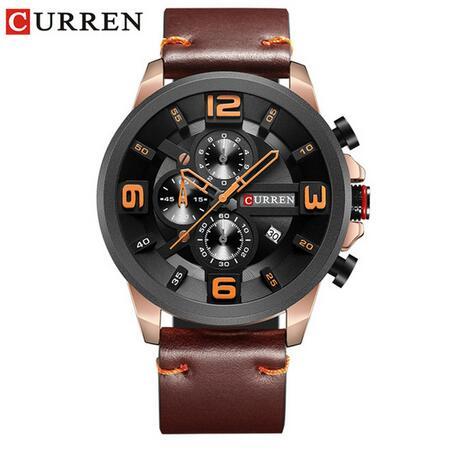 2018 CURREN Men's Watches Watch Men Military Leather Sports Watches Waterproof Quartz Wristwatches Male Clock 8288