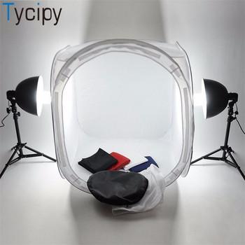 Tycipy 80*80*80cm namiot na aparat Softbox Mini składany namiot do zdjęć oświetlenie fotograficzne zestaw namiotowy lightroom do Nikon Canon White tanie i dobre opinie 1 025 Pakiet 1 Cloth camera Tent softbox