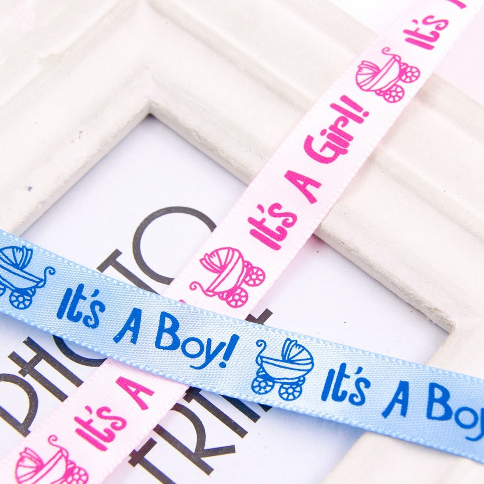 10yards 15mm Its A Boy/Its A Girl Satin Ribbon Baby Shower Birthday Party Decor DIY Card Gift Wrapping Supplies 40