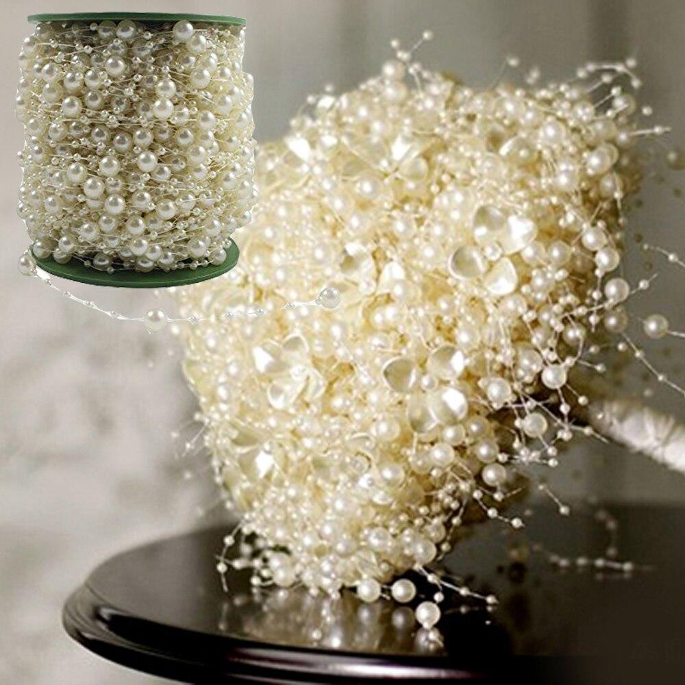 5 м леска искусственный жемчуг бусины цепи гирлянда цветы пластик бусины для DIY мероприятия Свадебная вечеринка украшения