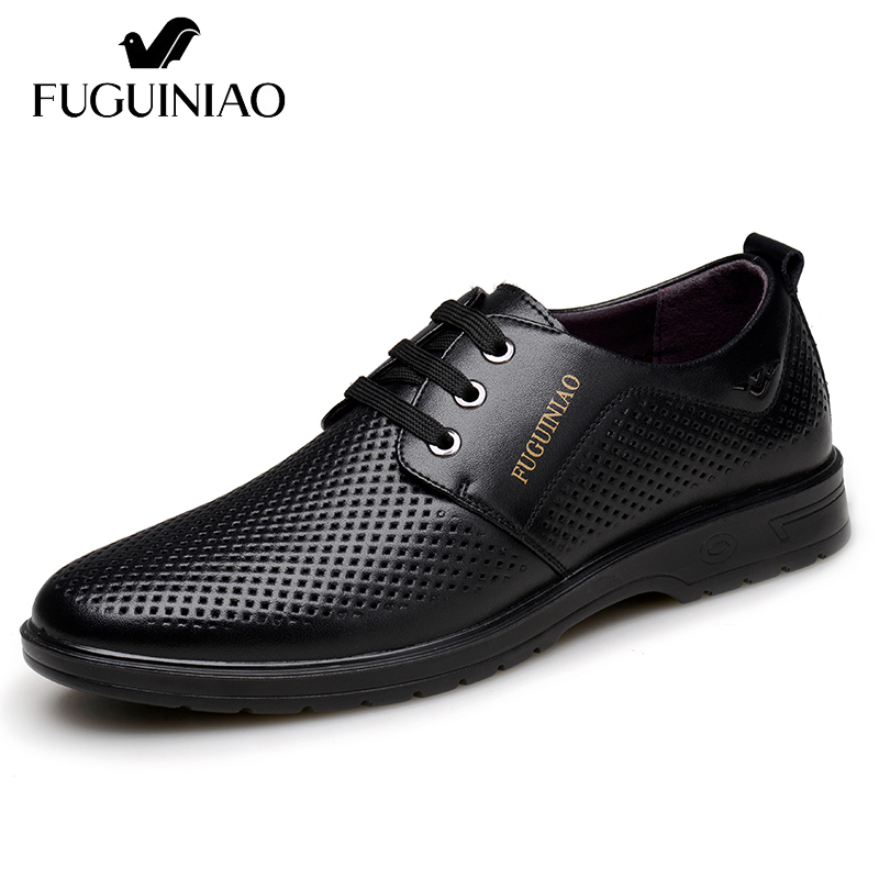 Summer Breathable Business Shoes Free shipping FUGUINIAO Split Leather perforated Men s Dress Shoes color black