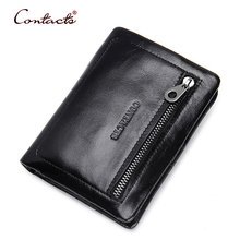 CONTACT'S Men Wallet Genuine Leather Wallets Card Holder Male Purses Zipper Vintage Business Purse Slim Small Design 2017 New