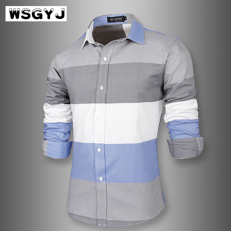 WSGYJ Brand 2018 Fashion Male Shirt Long-Sleeves Tops Large Striped MenS Casual Mens Dress Shirts Slim Men Shirt 2XL ...
