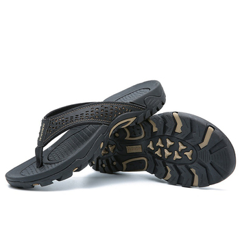 Merkmak 2019 Summer Men Shoes Mens Flip Flops Trendy Anti-slip Leather Casual Shoes Classic Massage Beach Slippers Big size 46 4